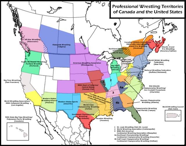 Professional Wrestlers Territories